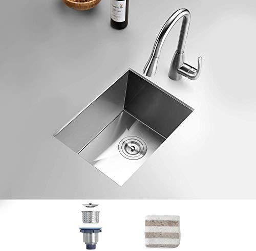 TORVA 14 x 18 Inch Undermount Kitchen Sink, 16 Gauge T-304 Stainless Steel Single Bowl Wet Bar or Prep Sink with Zero-Radius Corners