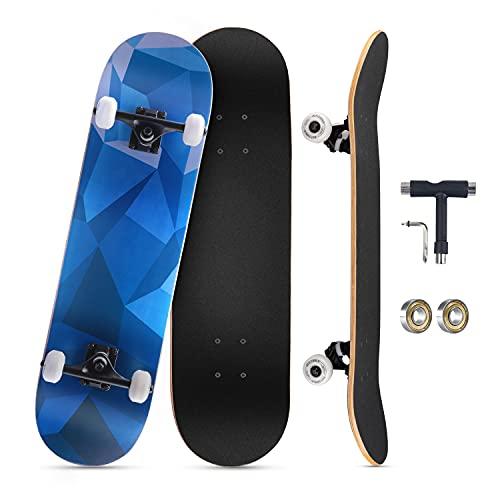 KOVEBBLE Skateboard professionale standard completo 31'x8 standard skateboard per bambini e adulti, principianti, ragazzi, ideale come regalo, in acero canadese (jihehe)