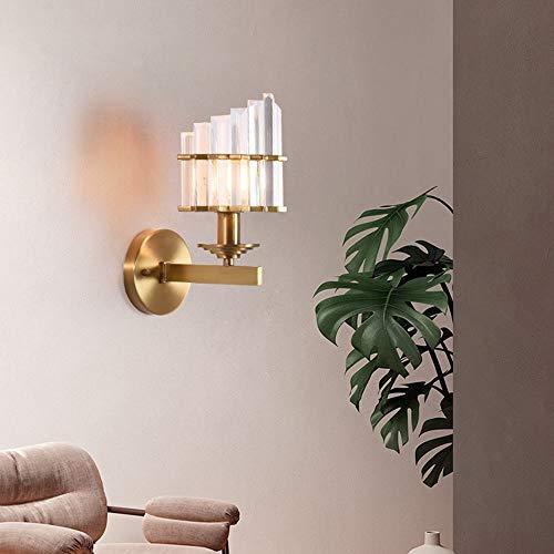 DC Wesley Lámpara de pared de cristal de cobre dorado minimalista de lujo para Villa, hotel, restaurante, comedor, sala de estar, dormitorio, 16 x 29 cm, luz cálida