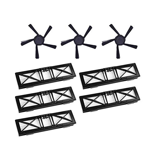 QIBIN Juego de 5 filtros de alto rendimiento y 3 cepillos laterales mejorados de 5 brazos para Neato Connected D5 D6 D7 Wi-Fi habilitado Va (color: negro) (color: negro).