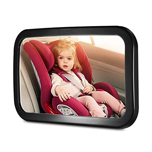 Fairycat Baby Backseat Mirror for Car, View Rear Facing Infant in Car Backseat, Best Newborn Safety with Secure Double Strap, Essential Car Seat Accessories