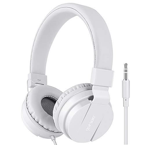 Premium Gorsun Kids Headphones Over Ear, foldable Headphones for Kids, lightweight Children Headphones-White