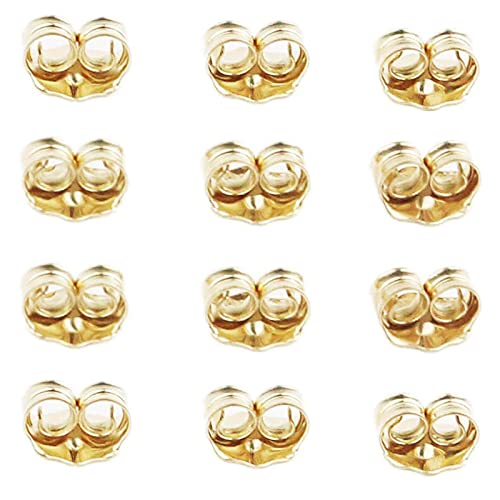 Orgrimmar 14K Gold Earring Back Yellow Ear Locking Earring Backs Replacements (6 Pairs)