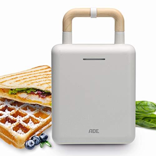 ADE Gofrera Sandwichera 2 en 1 KG2006, placas intercambiables, sandwichera con revestimiento antiadherente para hornear y tostar, asa con dispositivo de cierre, acabado mate