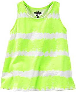 OshKosh Girls Striped Racerback Tank Top; Neon Yellow/White (4T)