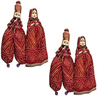 rv Art Rajasthani Handcrafted Handmade Kathputli/Puppet Pair and 1 Pair Elephant Door/Wall Hangings for Home D�cor (Set of 2)