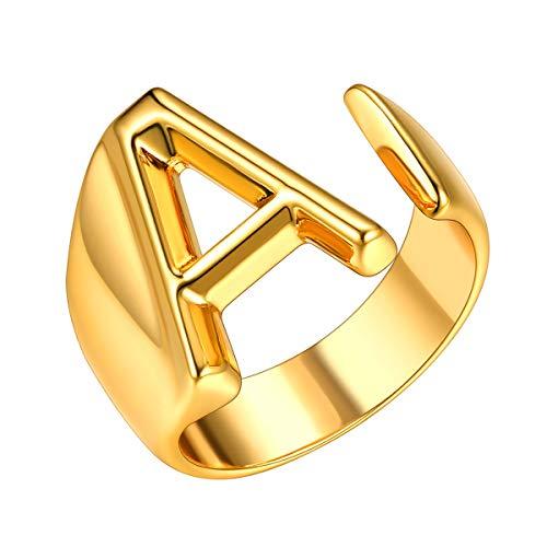 Anillo Ajustable Dorado Mujer con Letra Inicial A Anillo de Cobre Chapado en Oro Amarillo Joyerías Modernas de Nombres Personales para Compromiso