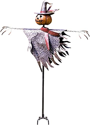 KKKKKY Halloween espantapájaros Jack O'Lantern, decoración de estaca de tierra, accesorios decorativos de Halloween gritan espantapájaros fantasma gritando bruja de miedo de Halloween