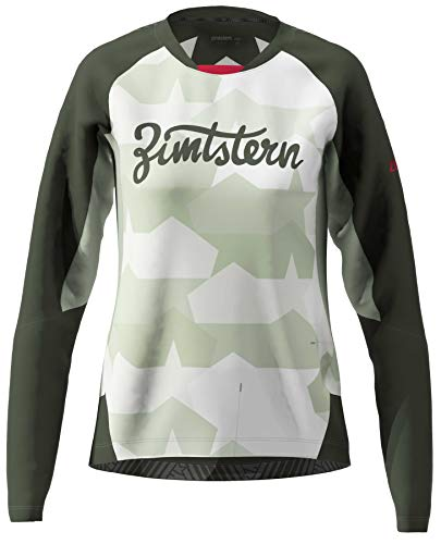 Zimtstern Damen TechZonez Shirt LS WMNS MTB, Fog Green/Forest Night/Jester Red, S