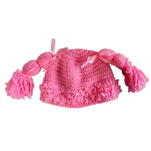 Kids Girls Crochet Beanie Hat with Hairs Pink Color Baby Hats Medium(fits 3-6month)