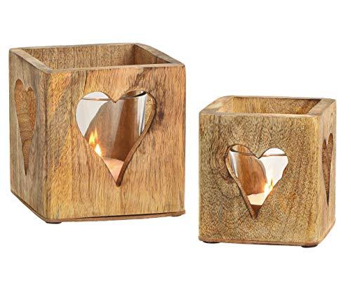 Spetebo Windlichthalter 2er Set aus Mango Holz - mit Glaseinsatz/im Herz Dekor - Holz Teelicht Halter Kerzenhalter