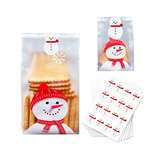 100 pz Sacchetti Biscotto Plastica Sacchettini Trasparenti Alimentari 7 adesivi sigillanti, Sacchetti di caramelle per biscotti Biscotti Dolci Sacchetti di cellophane Confezioni regalo di Natale