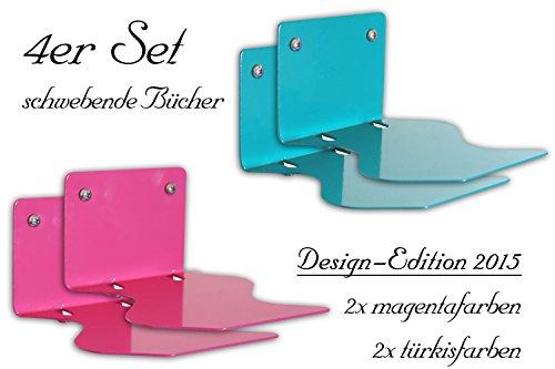 Luxflair 4er Set Unsichtbares Bücherregal schwebender Bücher: Buchhalter geschwungen, Hochglanz, türkisfarben (blau) & magentafarben (pink/rosa)