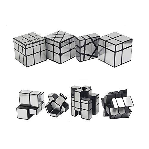 風の翼 - 鏡面キューブセット、競技用キューブ、鏡面シール風火輪,1x3x3, 2x2x2, 3x3x3(4個入り) (銀)