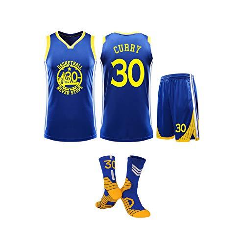 Erwachsene Basketball-Trikot, Golden State Warriors NO.30 Stephen Curry Basketball-Trikot, Gemütlich ärmel Trainings-T-Shirt/Shorts/Socken × 1, L-5XL Blue-XL