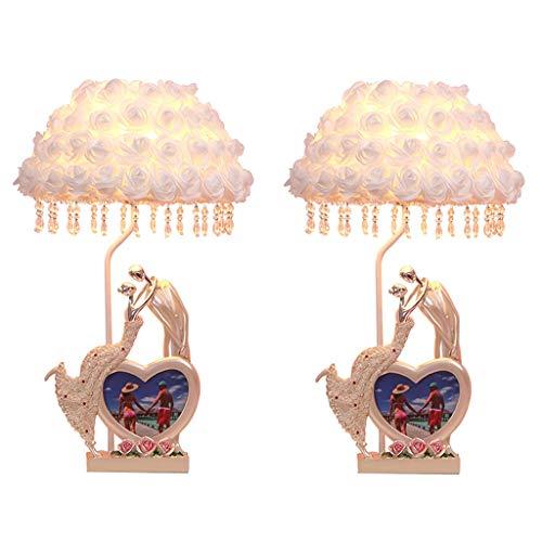 lámpara de mesa Lámpara de mesa Lámpara eléctrica Rose lámpara de escritorio de la sala de estar Dormitorio Lámparas de leer Lámparas y Foto Lectura del marco del regalo de boda romántica (2 piezas) L