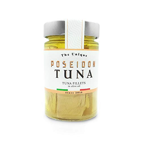 Poseidon - Yellowfin Solid Tuna Fish fillets in Olive Oil - 6.7 oz [190 gm] - Imported from Italy (Sardinia) x Pack of 6 Jars - Kosher