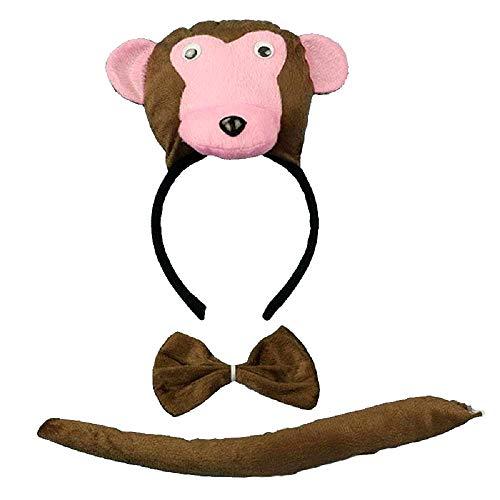 Lot hoofdband - aap - staart - dieren - vrouw - kinderen - kostuum - vermomming - carnaval - halloween - accessoires - cadeau-idee voor kerst en verjaardag papillon cosplay