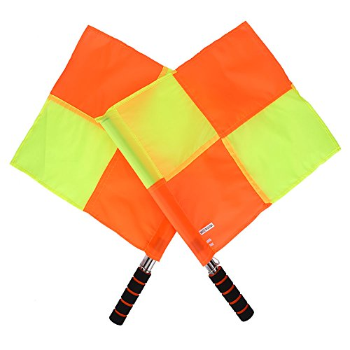 Asixx 2 Stücke Schiedsrichter Flagge, Fußball Schiedsrichter Fahnen Linienrichter Fahne mit Schwammgriff Tragbar und Wasserdicht, 34 x 33cm