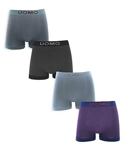 Channo Pack de 4 - Calzoncillos Boxer Lycra sin Costuras a Rayas