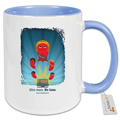 getshirts - Rocket Beans TV Official Merchandising - Tasse Color - Rocketbeans TV Bohnen - Cambridge blau Uni