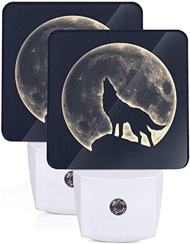 Luz de noche LED de lobo aullador de luna llena de 2 piezas con sensor automático de anochecer a amanecer, enchufe de lámpara de noche, luz de cama decorativa para el hogar para niños y adultos
