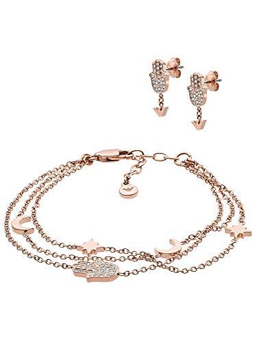 Emporio Armani EGS2697221 Damen Geschenkset Armband mit Ohrstecker Rose 20 cm