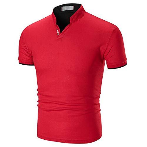 Sommer Herren Einfarbig Stehkragen Halbkragen Schlank LäSsig Polo-Shirt