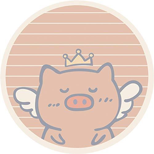 LMJ Outsider Bodenmatte, Lamm Kaschmir Dicker Bodenmatte Korb runder Teppich Nordic minimalistische Schlafzimmer Cartoon Computer Drehstuhl mat Schwein 100 Runde