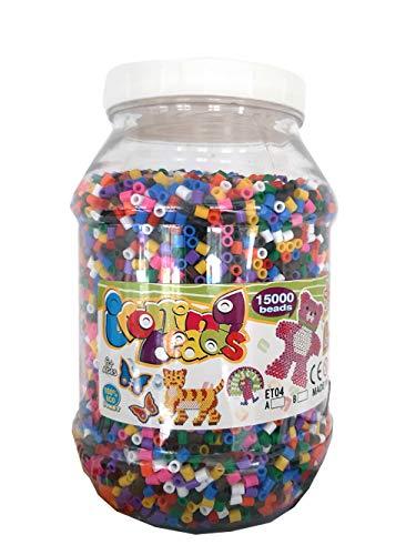 Brigamo 15.000 Bügelperlen in der Dose, 15 Farben gemischt