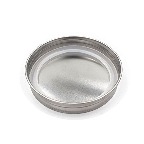 12 PCS Stainless Steel Mason Jar Lids, Storage Caps with Silicone Seals for Regular Mouth Size Jars, Polished Surface, Reusable and Leak Proof