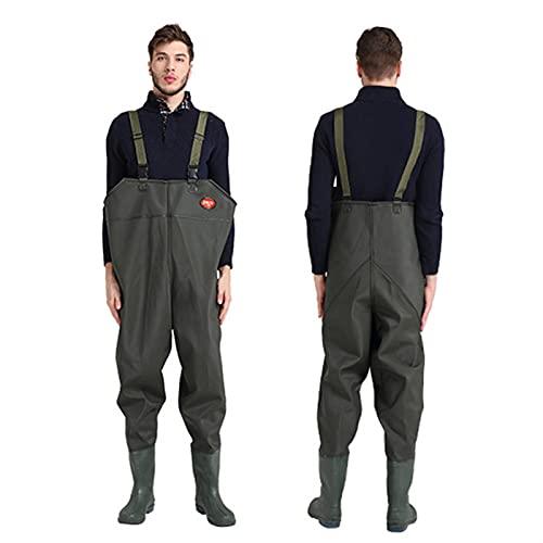 Angeln Strampler Jagd Wating Hose wasserdichte Anzug Jumpsuits Brustwaterne Overalls Oversize Hose Gummimaterial (Color : C, Size : 42)