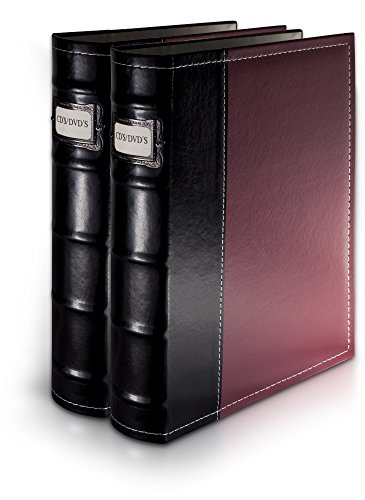 Bellagio-Italia Burgundy DVD Storage Binder Set - Stores Up to 96 DVDs, CDs, or Blu-Rays - Stores DVD Cover Art - Acid-Free Sheets