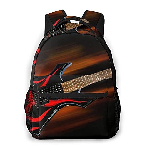 Popsastaresa Mochila para adolescentes, hombres, mujeres, paquete de almacenamiento,Guitarra de fuego de heavy metal, Mochila para portátil de viaje para estudiantes de escuela informal de negocios