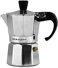 Orbegozo KF 100 - Cafetera italiana de aluminio, 1 taza de capacidad, mango ergonómico, tapón de seguridad, filtro desmontable