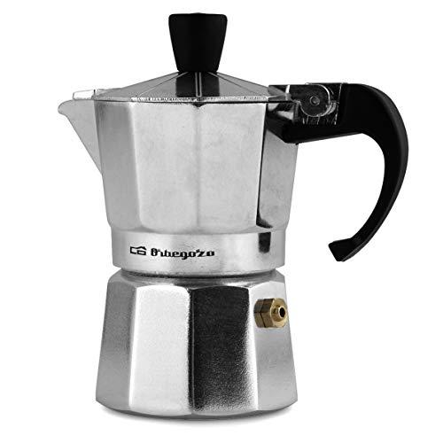 Orbegozo KF 200 - Cafetera italiana de aluminio, 2 tazas de capacidad, mango ergonómico, tapón de seguridad, filtro desmontable