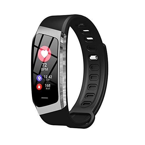 1 pulsera inteligente de presión arterial, monitor de ritmo cardíaco, monitor de actividad de fitness, reloj inteligente impermeable para hombres y mujeres, correa de actividad (negro y plateado)