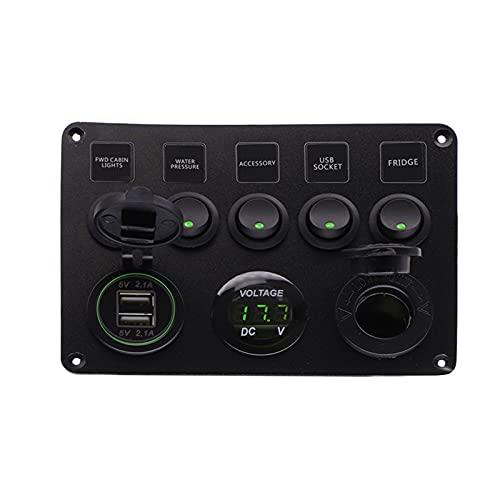 LIANGJIN 5Gang Rocker Interruptor de interruptores Interruptor de Palanca con Doble Uso de Accesorios Impermeables USB Ajuste para Barco de Barco Marino camión de Coche de Rusia