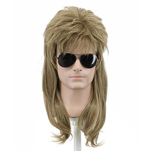 Yuehong Long Rock Star Style Wig Halloween Cosplay Wig Mullet Wig Heat Resistant Wigs(Brown)