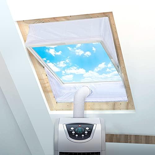 Fensterabdichtung für Mobile Klimageräte Dachfenster, ADOFF klimaanlage abdichtung fenster Airlock Hot Air Stop für Max 380cm Fensterumfang, Fensterkit 2x190cm, Weiße