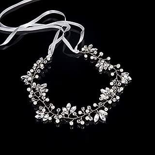 FD385 Bridal Rhinestone Crown Vintage Rhinestone Bridal Headband Flower(silver)