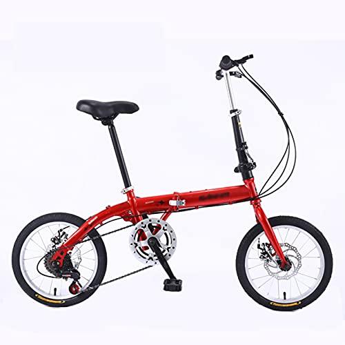 KAUO Bicicletas Plegables De 20 Pulgadas,Bicicleta Ligera,Sistema De 5 Velocidades,Doble V De Freno para Adultos, para Hombres, Manillar Y Sillin Confort Ajustables,para Hombres Y Mujeres MTB,Rojo