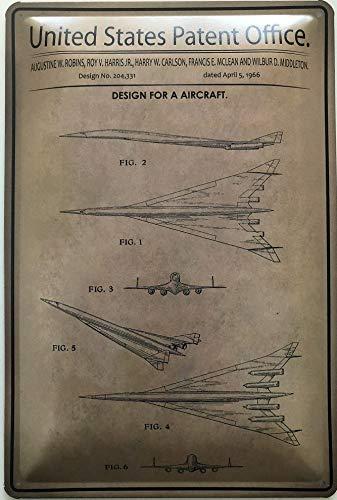 Deko7 metalen bord 30 x 20 cm Unidet States Patent Office - Desing for a Aircraft 1966