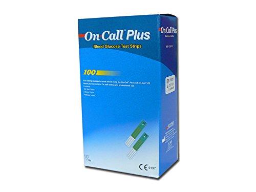 Gima Glucose Strips om de Glucose Concentratie in Hele Bloed te meten, die werken met On Call Plus II e On Call Plus Blood Glucose Meters - doos van 100 stroken.