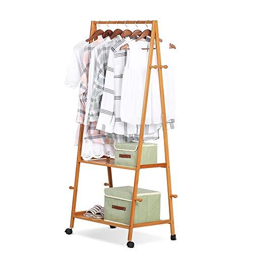 Cikonielf Multifunctional Bamboo Coat Rack with 8 Coat Hooks 2 Tier Storage Rack for Shoe Clothing