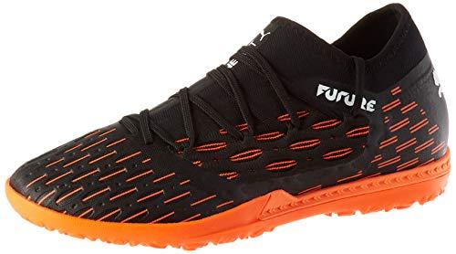 PUMA Unisex Future 6.3 Netfit Tt Fußballschuh, Schwarz Weiß-Schockierende Orange, 40 EU