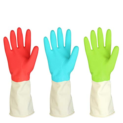 3 pares de guantes de goma impermeables para limpieza de platos y lavandería, tamaño mediano