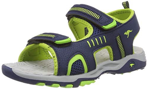 KangaROOS Unisex-Kinder K-Logan Sneaker, Blau (Dark Navy/Lime 4054), 34 EU
