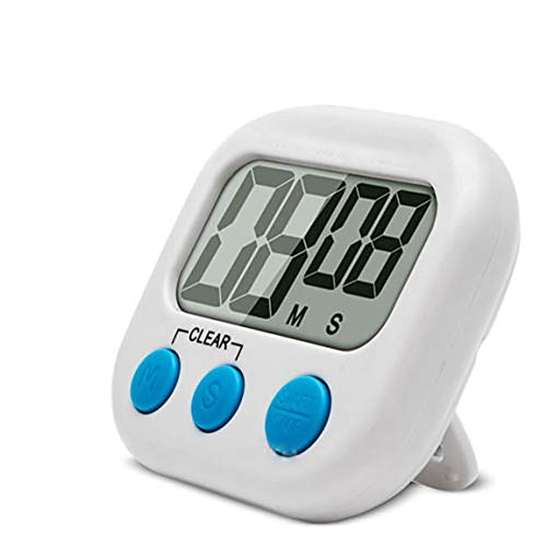 MOHAN88 Temporizador de Cocina con Alarma Sonora Pantalla LCD Grande Temporizador de Cocina Temporizador de Cuenta Regresiva de Cocina Digital magnético - Blanco