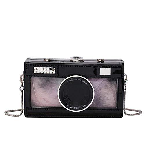 VIEMode Kamera Form Clutch Umhängetasche Für Frauen Umhängetasche Kette Damen Mini Umhängetasche Geldbörse, Schwarz, 18X5X10CM